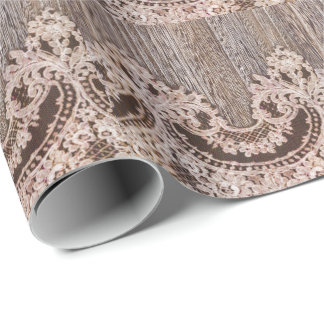 Rustic wood lace western country wedding favor wrapping paper