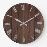 rustic wood large clock