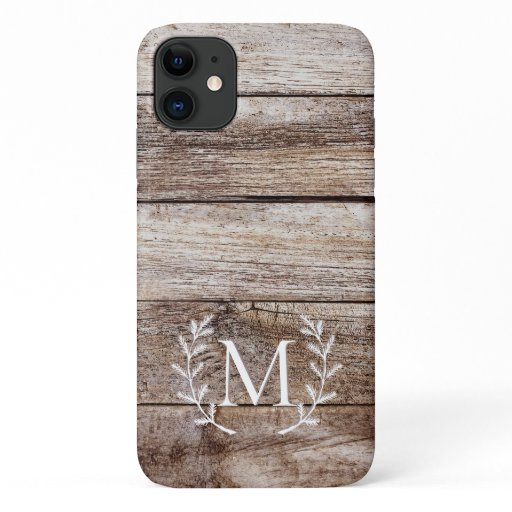 Rustic Wood Laurel Custom Monogrammed iPhone Case
