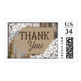 Rustic Wood Lavender and Lace Rustic Thank You Postage