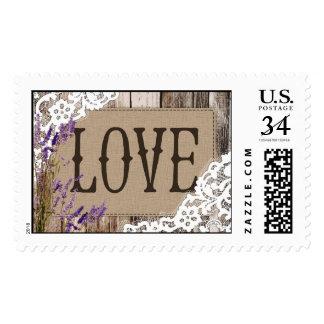 Rustic Wood Lavender Lace Love Wedding Stamp