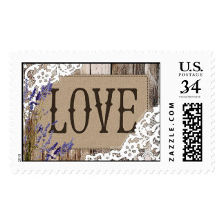 Rustic Wood Lavender Lace Love Wedding Stamp