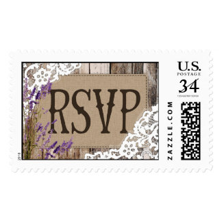 Rustic Wood Lavender Lace RSVP Wedding Stamp