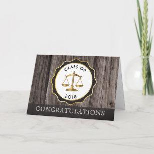 Rustic Wood Law Lawyer Graduation Congratulations Card