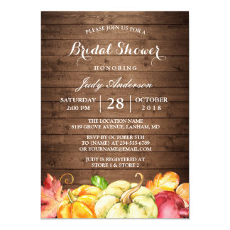 Rustic Wood Leaves Pumpkin Fall Bridal Shower Invitation