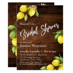 Rustic Wood & Lemons Bridal Shower Typography Invitation