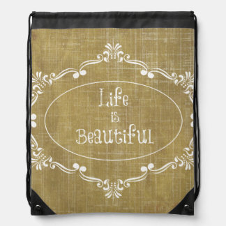 Rustic Wood: Life is Beautiful Quote Drawstring Backpack