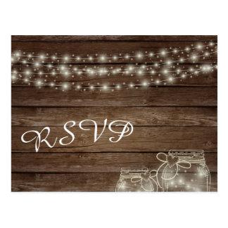Rustic Wood Lights and Mason Jars Postcard