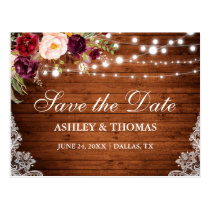 Rustic Wood Lights Lace Floral Save the Date Postcard