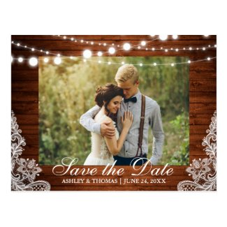 Rustic Wood Lights Lace Save the Date Back Text Postcard