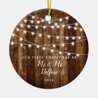 Rustic Wood Lights Newlywed Mr Mr Gay Wedding Gift Ceramic Ornament