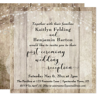 Rustic Wood Lights Post Ceremony Wedding Reception Card