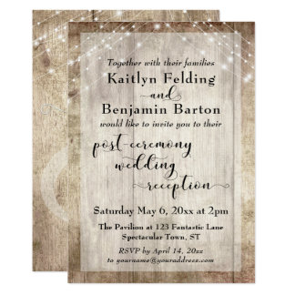 rustic wood lights post ceremony wedding reception card - Post Wedding Reception Invitation Wording
