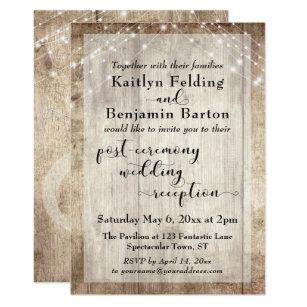 Rustic Wood Lights Post Ceremony Wedding Reception Invitation