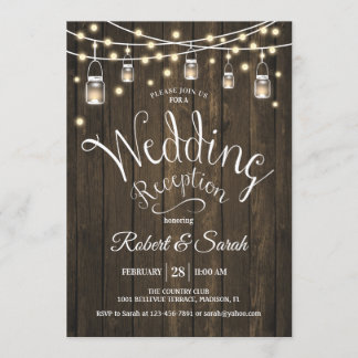 Rustic Wood & Lights Wedding Reception Invitation