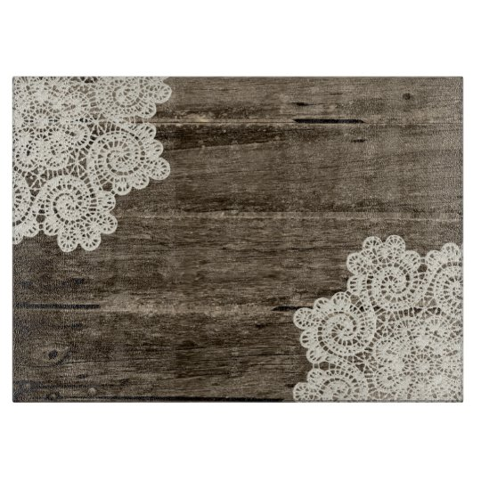 Rustic Wood Look And Lace Glass Cutting Board Zazzle Com