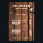 """Rustic Wood Look Barber Shop Services Price List Flyer<br><div class=""""desc"""">Rustic Country Barber Shop Services Price List Flyer.  (1) For further customization,  please click the &quot;customize further&quot; link and use our design tool to modify this template.  (2) If you need help or matching items,  please contact me.</div>"""