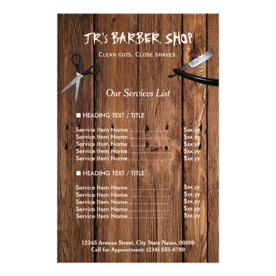 rustic wood look barber shop services price list flyer