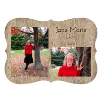 Rustic Wood Look Custom Graduation Invitations