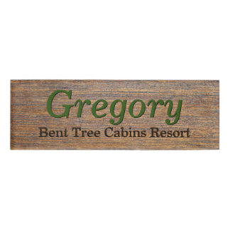 Rustic Wood Look Employee First Name Tag