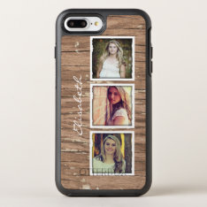 Rustic Wood Look Instagram Photo Collage Otterbox Symmetry Iphone 8 Plus/7 Plus Case at Zazzle