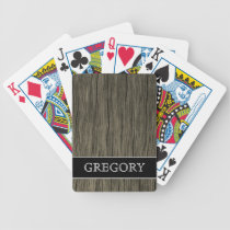 Rustic Wood Look Pattern   Custom Name Bicycle Playing Cards