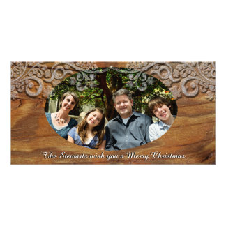 Rustic Wood Look Photo Holiday Cards