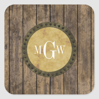 Rustic Wood Look Planks #1 Steampunk 3 Monogram Square Sticker