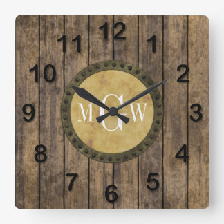 Rustic Wood Look Planks #1 Steampunk 3 Monogram Square Wall Clock