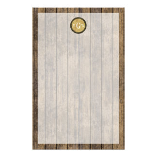 Rustic Wood Look Planks #1 Steampunk 3 Monogram Stationery