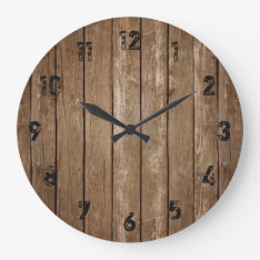 Rustic Wood Look Planks Large Clock at Zazzle