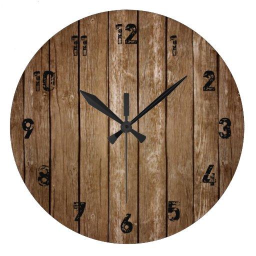 rustic wood look planks large clock zazzle