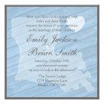 Rustic wood Louisiana blue wedding invitations