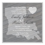 Rustic wood Louisiana gray wedding invitations
