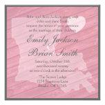 Rustic wood Louisiana pink wedding invitations