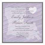 Rustic wood Louisiana purple wedding invitations