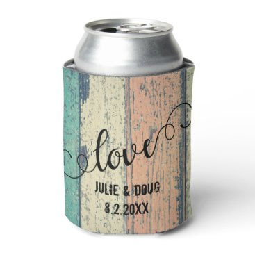 Rustic Wood Love Can Cooler