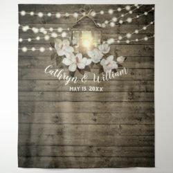 Rustic Wood Magnolia Lantern String Lights Wedding Tapestry