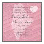 Rustic wood Maine pink wedding invitations