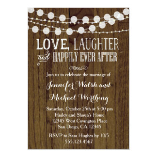 Rustic Wood Marriage Wedding Party Invitation 2