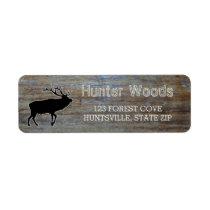 Rustic Wood | Masculine Wildlife Elk Silhouette Label