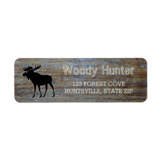 Rustic Wood | Masculine Wildlife Moose Silhouette Label
