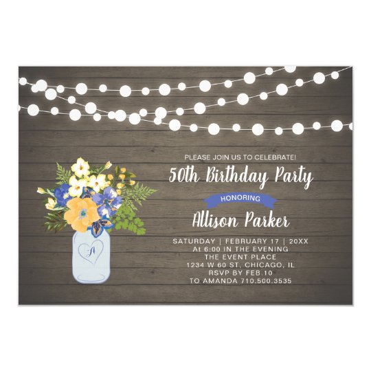 Rustic Wood Mason Jar 50th Birthday Invitation