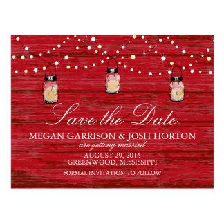 Rustic Wood Mason Jar and Lights Save the Date Postcard