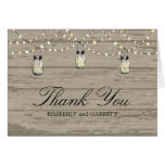 Rustic Wood Mason Jar and Lights Stationery Note Card