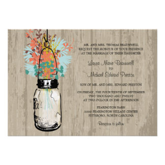 Rustic Wood Mason Jar and Wildflowers Wedding Announcements