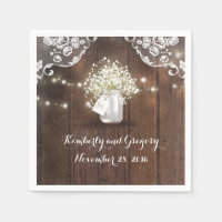 Rustic Wood Mason Jar Baby's Breath Barn Wedding Paper Napkin