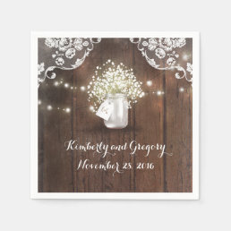 Rustic Wood Mason Jar Baby's Breath Barn Wedding Paper Napkin