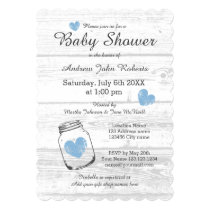 Rustic wood mason jar boy baby shower invitations