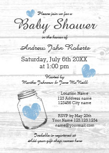 Country baby shower invitations announcements zazzle rustic wood mason jar boy baby shower invitations filmwisefo